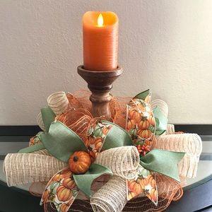 Other - Deco mesh Fall centerpiece, pumpkins